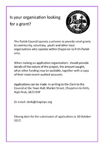 Closing date for grant applications - 20th October